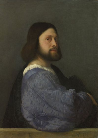 Titian (Tiziano Vecellio): Portrait of a Man with a Quilted Sleeve. Fine Art Print/Poster. Sizes: A4/A3/A2/A1 (001967)